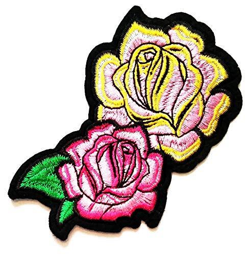 Fantastic Deal! Nipitshop Patches Beautiful Pink Roses Bouquet Two Flowers DIY Patch Embroidered Sew...