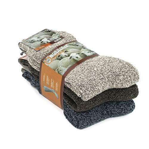 Go With Collection 3 Paar Norweger Socken für Damen dicke Wollsocken Wintersocken Stricksocken warme Kuschelsocken mit Wolle   Modell: 2038   Beige Blau Braun 35-38