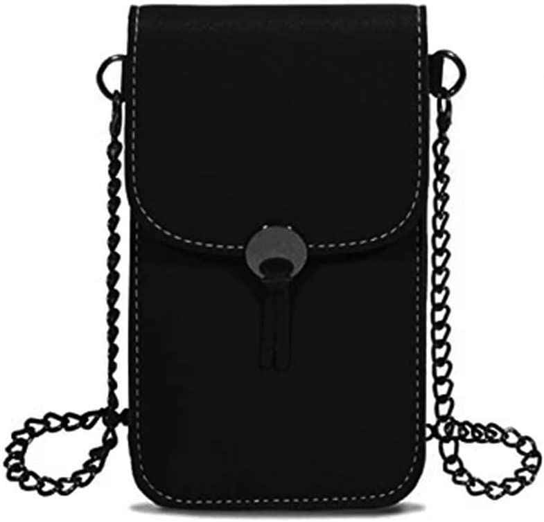 Women Touch Screen Cell Phone Purse Wallet Case Small Crossbody Bag with Chain Strap for Galaxy S20 S10 Plus S9 Plus Note10 A50 A20 A10 J7 Star, Moto G7 Z4 Z3 G6 E5 Play G8 Plus, LG Stylo 5/4 (Black)