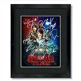 Stranger Things TV Show Cast Autograph Signed Artwork Wall Poster Reprint Framed 13x15 Millie Bobby Brown Gaten Matarazzo Caleb McLaughlin Finn Wolfhard Noah Schnapp Winona Ryder