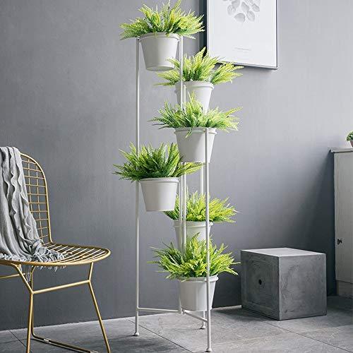 GYAO-étagères à fleurs Fleur nordique en fer forgé Écran Seau support de fleur Combinaison Salon Salon Vitrine Décoration Bronze Fleur Vert Étagère Plante Blanc Taille: 20x138cm