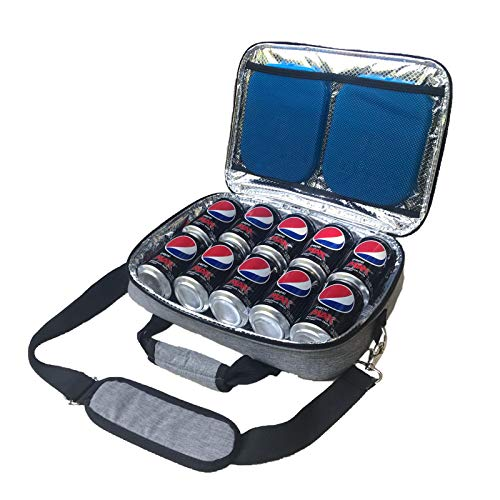 Red Suricata Insulated Slim Cooler - Thin, Flat Cooler Lunch Bag Fits 10 Drink Cans - 2 Free Slim Reusable Ice Packs - The Ultimate Small Man Bag for Beer, Hideaway Inside Backpack (Heathered Grey)