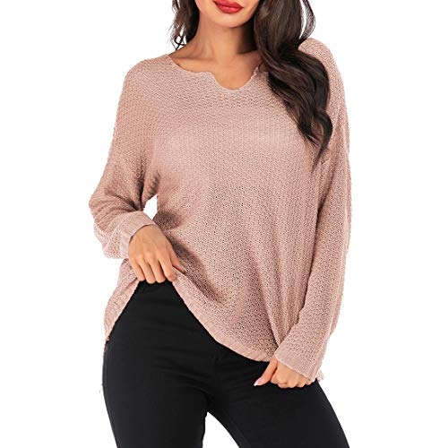 ZGRNPA Damen Off The Shoulder Top Langarm-Pullover mit Wasserfallausschnitt...