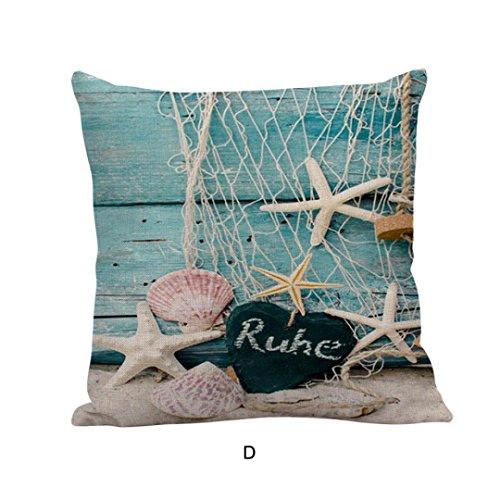 Ronamick, federa per cuscino 45x 45cm, motivo colorato, stampato, modello traspirante, con motivo vista sul mare, cuscino decorativo per divano, decorazione della propria casa in lino, d, 45cm*45cm