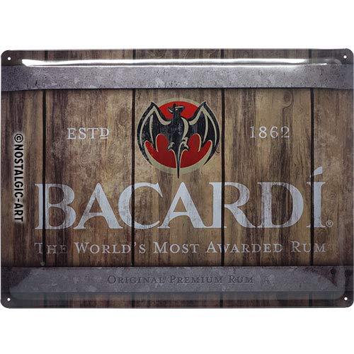 Nostalgic-Art Retro Blechschild - BACARDI - Wood Barrel Logo, Vintage Geschenk-Idee für Rum-Fans, zur Dekoration als Bar-Zubehör, 30 x 40 cm