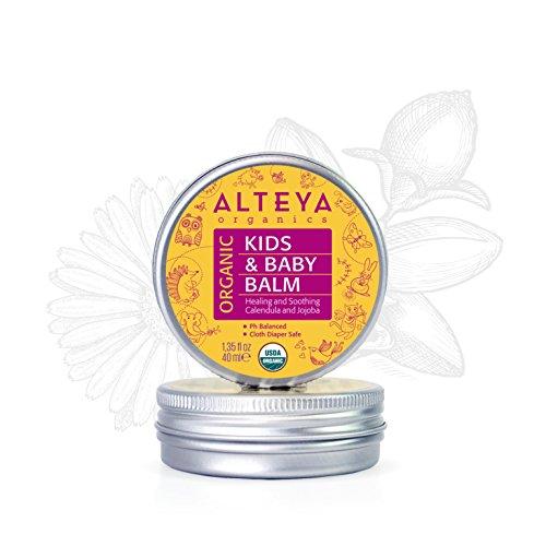 Alteya Organic Baume pour bébés 40 ml - Certifié organique par USDA GAGNANT DE PRIX Traitement pour soins de la peau de bébé Pur, bio et naturel Basé sur l'huile essentielle de rose bulgare Guérit et protège la peau sensible et irritée