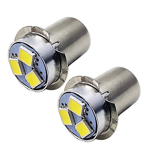 Ruiandsion 2 st P13.5S LED-lampa 6 V vit 2835 3SMD chips LED-lampa uppgradering för ficklampor ficklampor, icke-polaritet