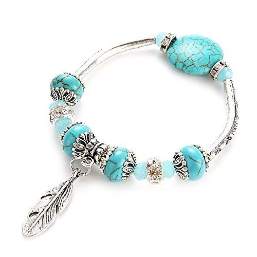 Yazilind Charm Blatt Perlen Armbänder mit Türkis Armband Tibetische Legierung Armbänder Geschenk für Frauen und Mädchen (blau)