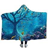 Gran Manta con Capucha de Setas niños 3D Paisaje psicodélico Sherpa Manta de Cama de Lana Manta de Viaje para Acampar Manto de Cama tamaño (130 cm x 150 cm)