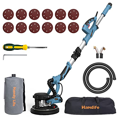 Drywall sander handife 7a 800w electric foldable wall sander, double-deck led lights sander, 800-1800rpm electric drywall sander w/dust-free automatic vacuum system and 12 pcs sanding discs