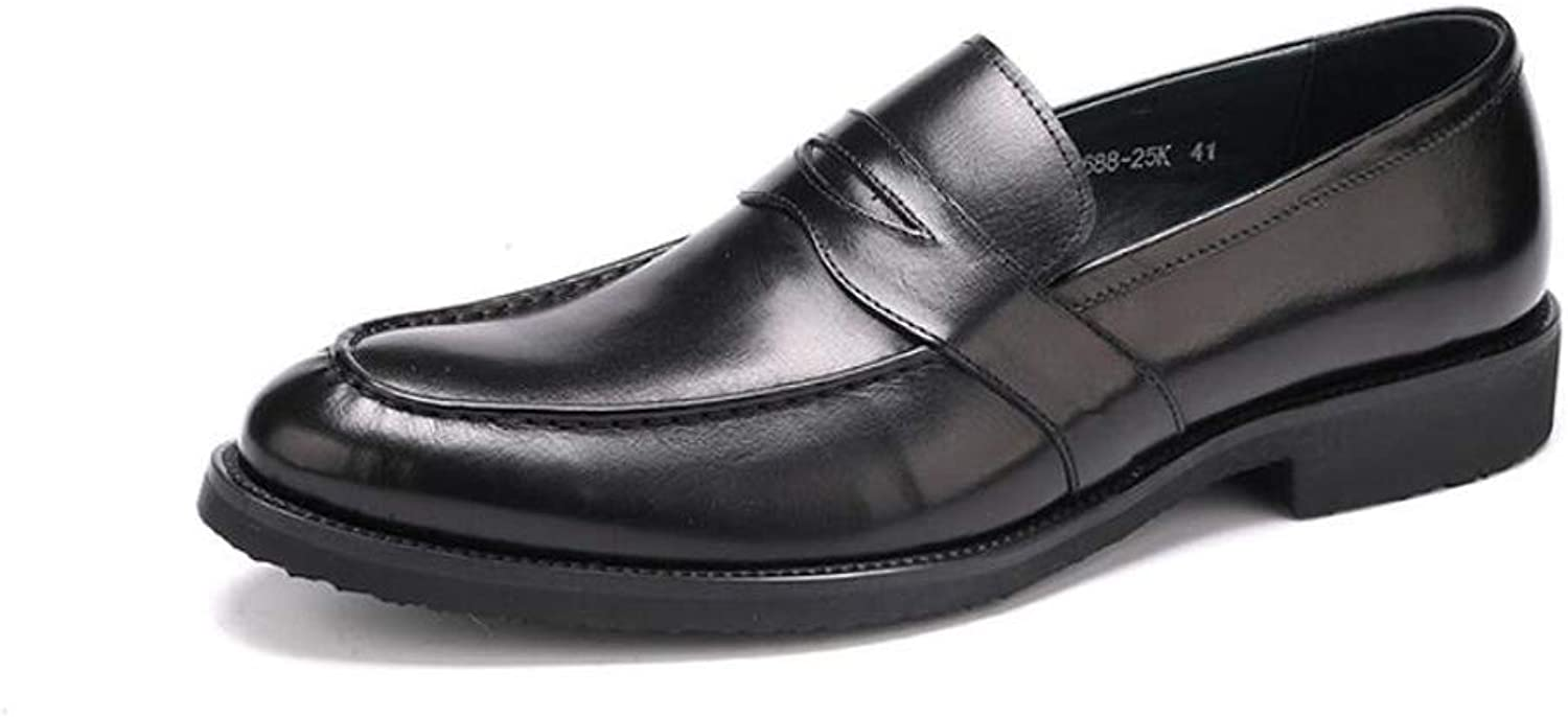 MKJYDM Men's Casual shoes Business Casual Comfortable Classic Leather Dress shoes 37-45 Yards Men's Leather shoes (color   Black, Size   37)