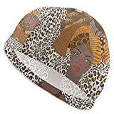 N\ A Swim Cap Fashion African American Woman Leopard Print Swimming Caps Hat for Women Men Adult Spandex Bathing Caps Long Short Hair Ladies Swim Hat Swimming Accessories Water Sports
