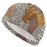 N\ A Swim Cap Fashion African American Woman Leopard Print Swimming Caps Hat for Women Men Adult Spandex Bathing Caps Long Short Hair Ladies Swim Hat Swimming Accessories Water Sports