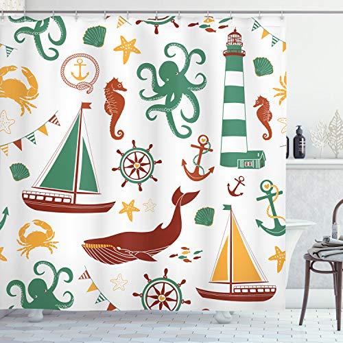 Ambesonne - Cortina de ducha náutica, color pastel composición de faro, velero, conchas de peces, pulpo, tela de tela para decoración de baño con ganchos