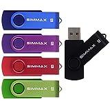 SIMMAX 5Pcs 8GB USB Flash Drive USB 2.0 Flash Drive Memory Stick Fold Storage Thumb Stick Pen Swivel Design(Five Mixed Colors: Black Blue Green Purple Red)(Mix Color1)
