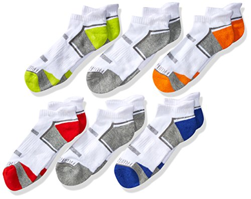 Fruit of the Loom Boys' Big Everyday Active Low Cut Tab Socks-6 Pair Pack, white, orange, red, green, blue, gray, Shoe Size: 4-10
