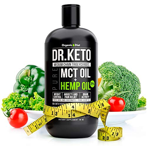 Organic Diet MCT Oil with Hemp for Keto Diet. Keto Diet Stress Relief. Triple Filtered and Cold Pressed MCT Organic Coconut Oil for Keto Boost. Perfect MCT Oil for Keto coffee. Made in USA