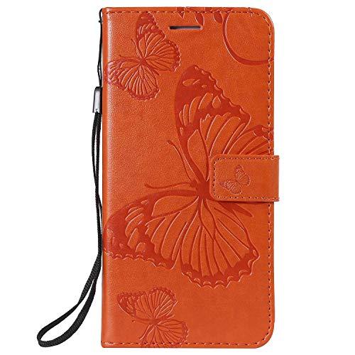DENDICO Hülle für Huawei Nova 4, PU Leder Handyhülle Schutzhülle mit Standfunktion & Kartenfach für Huawei Nova 4 - Orange