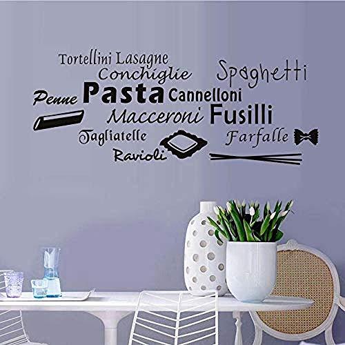 Persoonlijkheid Muurstickers Alle soorten van Pasta Restaurant Muurstickers Aangepaste muur Art Decal Zelfklevende Behang Keuken Wandtegels Stickers 104X42Cm
