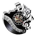 Reloj de Pared Vintage,Reloj Pared de Disco de Vinilo Silencioso Decoración para Habitación Dormitorio Cocina Oficina Bar 30CM。 Piano de Nota Musical