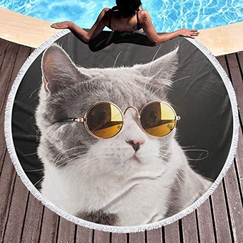 Nazi Mie Rundes Strandtuch Nette Brille Katze Großes Strandtuch Strandmatte Pool Handtuch