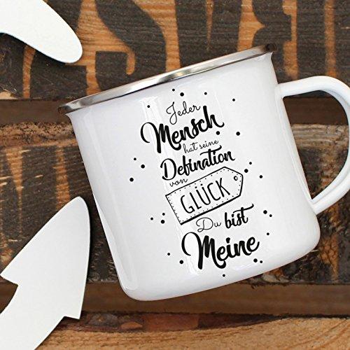 ilka parey wandtattoo-welt Emaille Tasse Becher mit Spruch Spruchbecher Kaffeebecher mit Zitat Definition Glück Campinbecher eb01