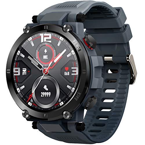 O'woda Smartwatch, 1.3 Inch Reloj Inteligente con Pulsómetro Presión Arterial,Monitor de Sueño Podómetro Contador de Caloría, Hombre Mujer niños Reloj Deportivo,Compatible para Android iOS (Gris)