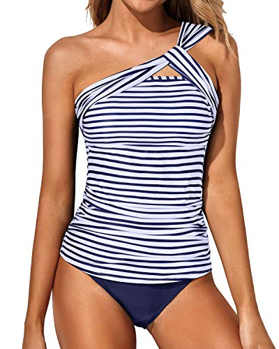 Tempt Me Women White Blue Stripe Tankini Ruched One Shoulder Tummy Control Top with Shorts Two Piece Swimsuits XL