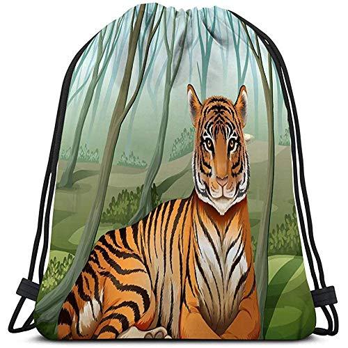 BOUIA Trekkoord Tas Lichtgewicht enge tijger bos Schilderijen