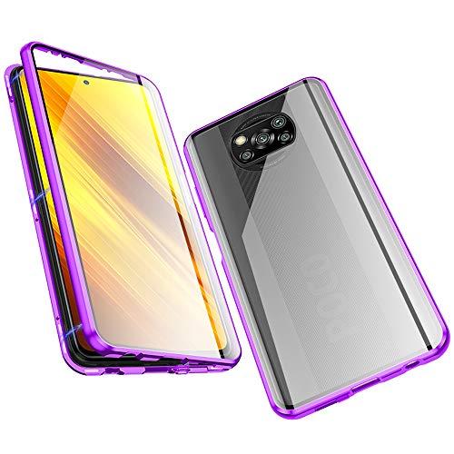 Jonwelsy Cover per Xiaomi Poco X3 NFC, Adsorbimento Magnetico Paraurti in Metallo con 360 Gradi Protezione Case Doppi Lati Trasparente Vetro Temperato Flip Custodia per Xiaomi Poco X3 NFC (Viola)