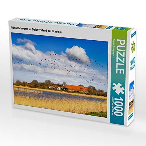 CALVENDO Puzzle Gänseschwarm im Deichvorland bei Greetsiel 1000 Teile Lege-Größe 64 x 48 cm Foto-Puzzle Bild von Andrea Dreegmeyer