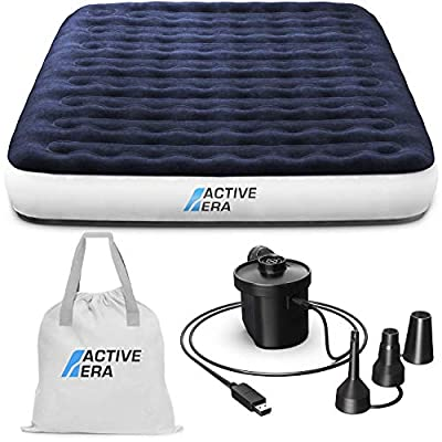 Active Era Luxury Camping Air Bed with USB Rechargeable Pump - Queen Size Inflatable Air Mattress with Integrated Pillow, Travel Bag, Portable Air Pump with USB Charging Cable and Foot Pump