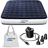 Active Era Luxury Camping Air Bed with USBRechargeablePump- King Size Inflatable Air Mattress with Integrated Pillow,Travel Bag,PortableAirPump and Foot Pump