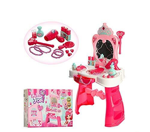 Tocador para niñas con espejo de tocador, juego de tocador, escritorio, con taburete, color rosa