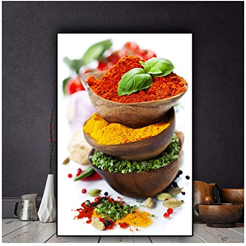 Dlfalg granen specerijen paprika's groene plant Canvas Schilderij Posters en Prints Keuken Muur Art Food Picture Woonkamer Decor- 40X60Cm Unframed
