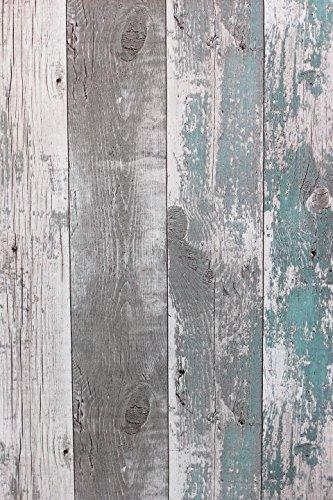 Carta da parati in tessuto non tessuto anticato effetto legno rustico, colore: grigio petrolio discontinuo 68616.
