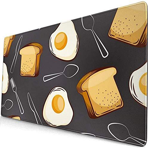 Gebakken eieren Brood en Vork Lepel Uitgebreide Gaming Muis Pad,Dikke Grote Computer Toetsenbord Muismat