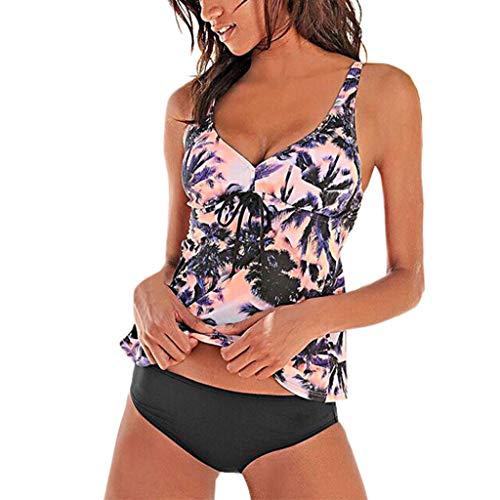 Rosennie Tankini Damen Bauchweg Bikini Set Push Up Bademode Große Größen Badeanzug Bademode Swimsuit Bikini Set Frau Bademode Tankinis Tankini mit Hotpants Zweiteilig Streifen Oberteil + Slip
