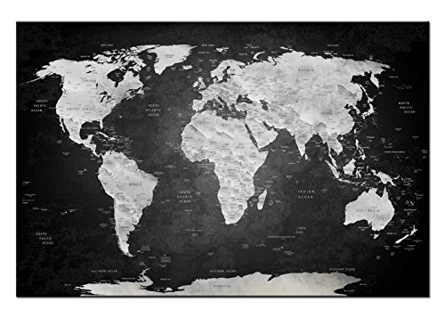 Dsign24 Weltkarte edel als Leinwandbild Wandbild 60 x 40 cm – Wanddeko, Kunstdruck, Keilrahmen Globus World S/W A05047