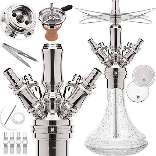 DILAW® Smart Shisha Edelstahl V2A Komplettset 38cm Hookah | Mini | to go + Glas Kohleteller | 4 Anschlüsse Adapter | Wasserpfeife | Base Closed Chamber | Kaminkopf Silikonschlauch Tabakkopf Glow