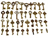 40 Piezas Llaves Antiguas de Bronce Esqueleto Key DIY Charms Key ,Colgantes Vintage para la Decoración de La Boda Favor, Colgantes, Fabricación de Joyas .