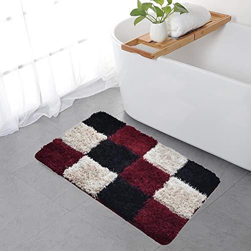 ZaH Mosaic Doormat Front Door Mat Indoor Outdoor Carpet Non-Slip Bathroom Rug Home Decoration 18' x 25' (Wine Red)