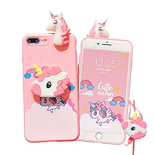 """Unicorn Case for iPhone 7 Plus/8 Plus 5.5"""" with String Rope, 3D Cartoon Cute Elastic Kickstand Protective Case, iPhone 7 Plus Case iPhone 8 Plus Case Kawaii Fashion for Kids Teens Girls Women (Pink)"""