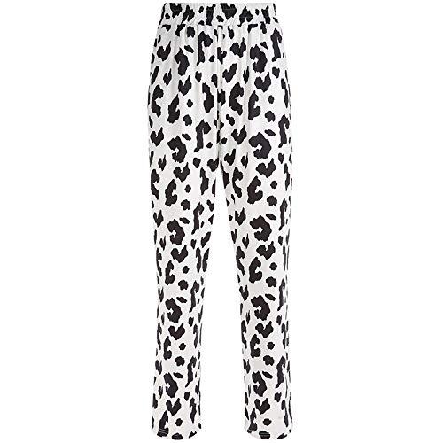 Pantalones Estampados de Vaca de Leche Suelta Pantalones de Cintura Alta elásticos para Mujer Pantalones de chándal Rectos Holgados de Verano