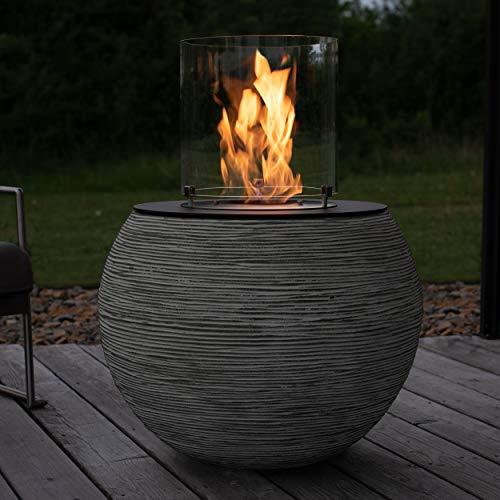 muenkel design MEDA – Riffelung schwarz-grau – Bio-Ethanol Feuerstelle Gartenfackel Terrassenfeuer mit Round Burner 350 Brennkammer