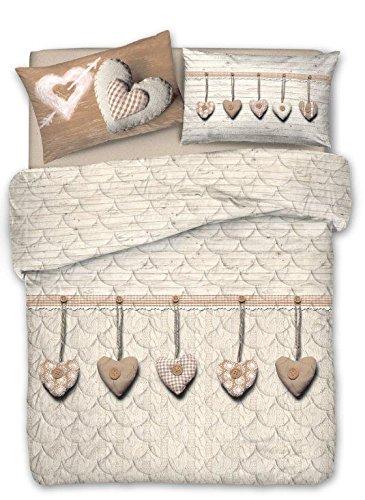 trapunta matrimoniale primaverile offerta Smartsupershop Super Offerta: TRAPUNTINO Primaverile Autunnale (Matrimoniale 260x280) + Completo Lenzuola Matrimoniale - Cupido Beige Cuore Cuori Appesi