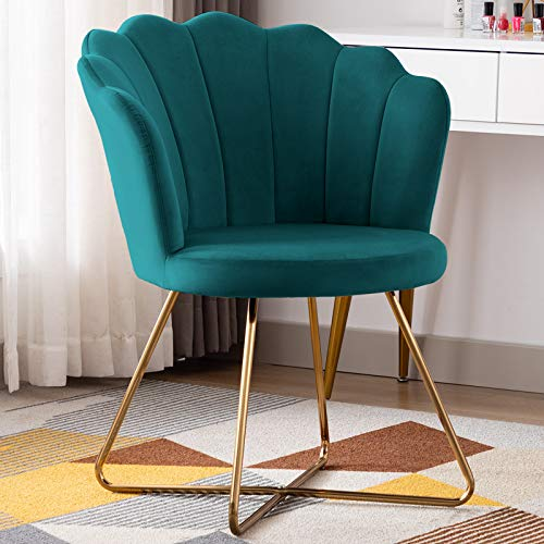 Duhome Velvet Accent Chair Vanity Chair Makeup Chair Guest Chair Tufted Desk Chair Living Room Chair with Golden Metal Legs Atrovirens