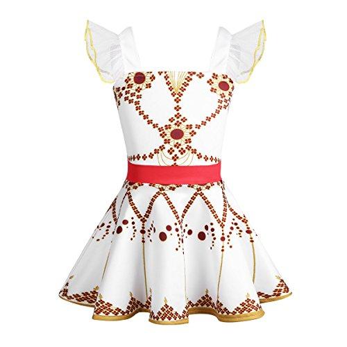 Agoky Kinder Mädchen Ballerina Kostüm Cosplay Kleid Ballettkleid Ballettanzug mit Tutu Rock Flügelärmel Ballett Kostüm Outfit Bekleidung gr. 80-134 Weiß 116-122(Etikette 130)