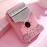 Kalimba 17 Keys C Tone Pink Thumb Piano Mahogany Profession Marimbas Finger Instrument for Kids Adult Girlfriend Festival Gift with Bag Tuning Hammer Study Booklet,F-ElectricBox