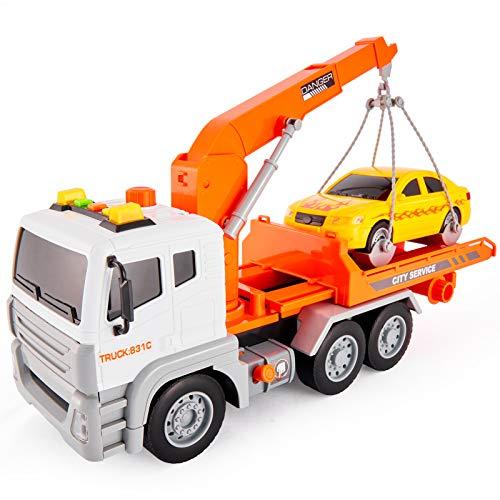 HERSITY Abschleppwagen Spielzeug mit Rennwagen Sound und Licht Transporter LKW Push and Go Spielzeug Geschenk für Kinder 3 4 5 6 Jahre